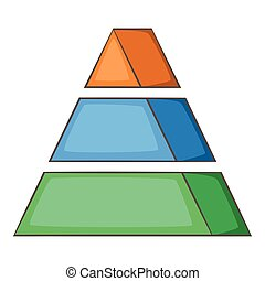 Stacked pyramid icon, cartoon style