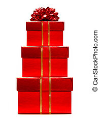 Stacked red gift boxes