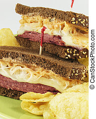 Stacked Reubens - Reuben sandwich with corned beef, melted ...