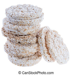 Stacked Rice Cakes on white - Stacked Rice Cakes isolated on...