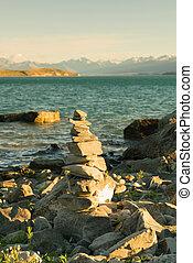 Stacked rock Wanaka lake front