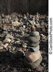 Stacked rocks - Rocks stacked on top of each other of...