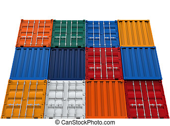 Stacked Shipping Container isolated on white background. 3D...