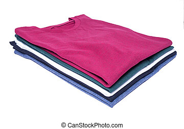 stacked shirts in different colors (isolated)