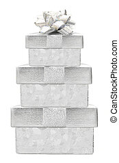 Stacked silver Christmas gifts - Stacked silver Christmas...