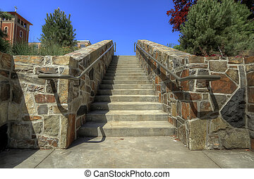 Stacked Stone Wall Staircase