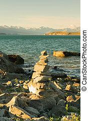 Stacked stone Wanaka lake front