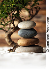 Stacked stones on sand with bonsai tree