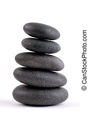 Stacked Stones - Spa Stones Stacked On On Top Of Another,...