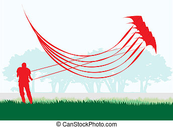 Stacked stunt kite. - Man flying stacked stunt kite in...