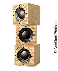 Stacked Subwoofers 1 - 3D rendered Illustration. Isolated on...