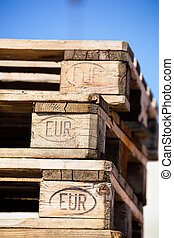 euro pallets - stacked successive euro pallets