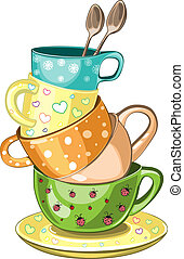 Stacked tea cups - Stacked fancy multi-colored tea cups...