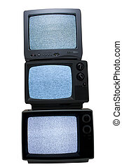 three old portable solid state television isolated on white