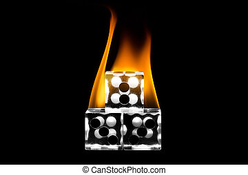 Stacked the fire dice. Dice stacked. Fire on the dice. Clear cube.