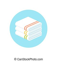stacked towels icon - Stack of folded towels, flat cartoon...