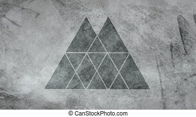 Animation of stacked triangle design in grey on a moving textured, weathered grey background. Abstract shape, colour and movement concept digitally generated image