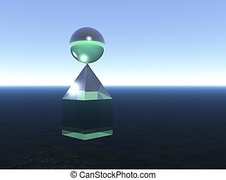 Abstract: Combination of a cube, a pyramid and a sphere