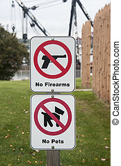 Stacked warning signs