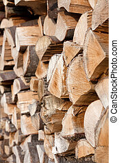 stacked Wood logs ready to make a fire