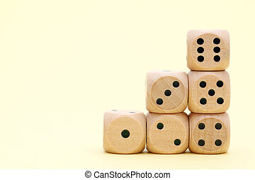 Stacked wooden dice