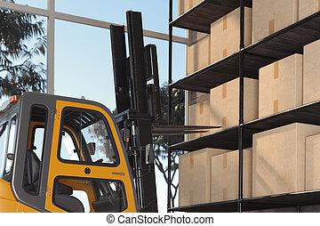stacker, トラック, フォークリフト, 3d, storehouse., 積込み機, 貨物, warehouse., equipment., パレット, 輸送, rendering.