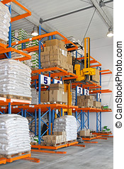 Stacker in warehouse