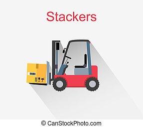 stackers, スタイル, アイコン, デザイン, 平ら