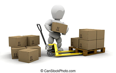 Stacking boxes - 3D render of someone stacking boxes