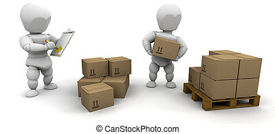 Stacking boxes - Workers stacking boxes onto a pallet