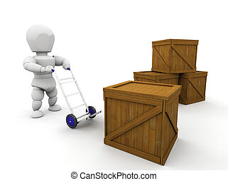 Stacking crates - 3D render of someone stacking crates