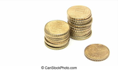 Stacking Euro Cent Coins