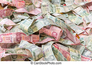 Stacking of a banknote type of thai currency