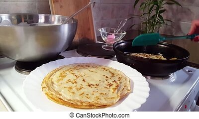 Stacking of Appetizing fried pancakes with butter. Cook at...