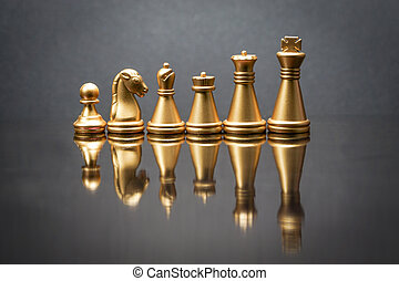 Stacking Piece of chess, king, queen, knight, castle, bishop and pawn or apieces with reflection glass on black background