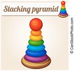 Stacking toy pyramid. Cartoon vector illustration