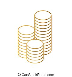 stacko of golden coins coin- vector illustration