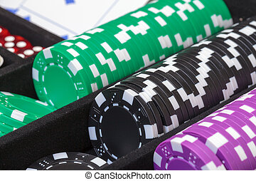 stacks, of, многоцветный, покер, чипсы