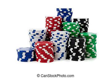 stacks, of, покер, чипсы, на, белый