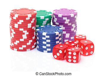 stacks, of, покер, чипсы, with, playing, bones