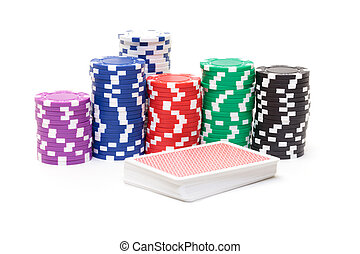 stacks, of, покер, чипсы, with, playing, cards