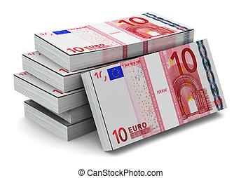 Stacks of 10 Euro banknotes