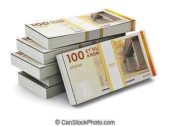 Stacks of 100 Danish krones