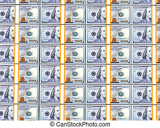 Stacks of 100 dollar bills - 3D render of stacks of USA 100...