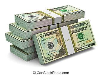 Stacks of 20 dollars banknotes - Creative abstract banking,...
