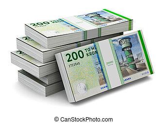 Stacks of 200 Danish krones - Creative abstract banking,...