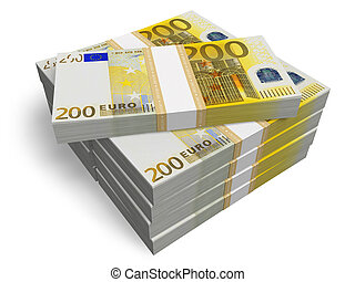 Stacks of 200 Euro banknotes