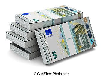 Stacks of 5 Euro banknotes