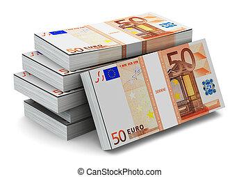 Stacks of 50 Euro banknotes