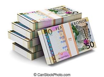 Stacks of 50 Swedish krones - Creative abstract banking,...